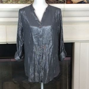 GrayMetallic thread blouse w/ convertible sleeve